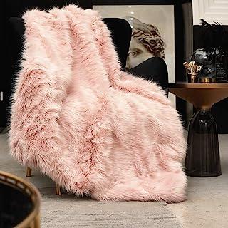 Pink Faux Fur Throw Blanket, Luxury Modern Blush Home Throw Blanket, Super Warm, Fuzzy, Elegant, Fluffy Thick Heavy Decora...