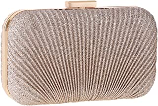 FengheYQ Women's Luxury Simple Evening Bag Pleated Shell Pattern Bag Shoulder Messenger Bag Wild Party Dress Wedding Bridesmaid Clutch Size: 20 * 4.5 * 12cm (Color : Gold)