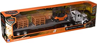 New Ray 16643 Newray 1: 43 Long Haul Trucker - International Lonestar Flatbed with Forklift & Pallets, White