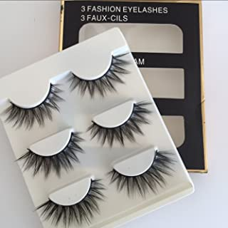 Sunniess Hair® High Quality Imported Fiber 3D Mink False Eye lashes Handmade Reusable Long Cross Makeup Natural 3D Fake Thick Black EyeLashes 3 Pairs(3D-60)