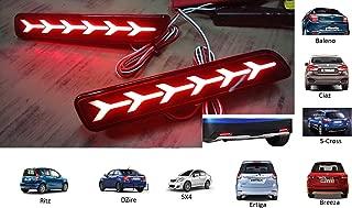 PR Car Reflector LED Brake 6 Arrow Design Light for Bumper Rear/Back Drl with wiring for Maruti Suzuki Baleno/Breeza/Ciaz/Ertiga/New Swift Dzire/Scross/Ritz/SX4, Set of 2