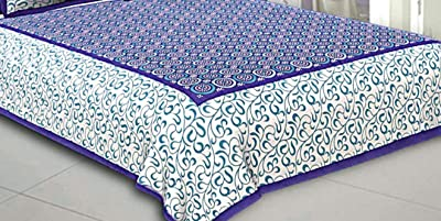 Miyanbazaz textiles Cotton King Size Double Bedsheets with 2 Pillow Cover- (Turquoise and Blue)