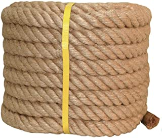 Twisted Manila Rope Jute Rope (1 in x 50 ft) Natural Thick Hemp Rope for Crafts, Nautical, Landscaping, Railings, Hanging Swing