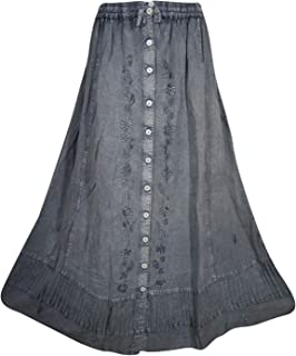 Mogul Interior Womens Grey Maxi Skirt Embroidered Stonewashed Button Down Boho Long Skirt S/M