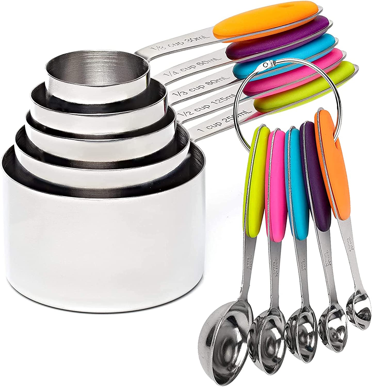VOJACO Measuring Cups and Measuring Spoons, Measuring Cups and Spoons Set of 10 Pieces, Stainless Steel Measuring Cup Set for Dry Liquid Food, Metal Measure Cups for Kitchen Cooking Baking