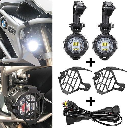 SUPAREE LED Phares Avant Moto, Phare Antibrouillard Auxiliaire + Housse de Protection + Harnais de Câblage pour Moto