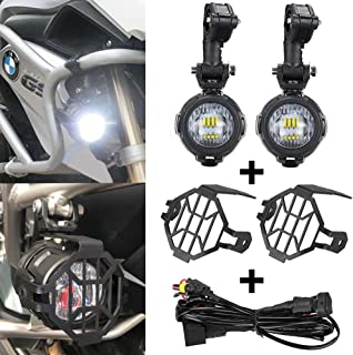 Faros Antiniebla Lámparas Auxiliares del LED 40 W + Protector Guardias + Arnés de Cableado con Interruptor para Motocicletas Universales