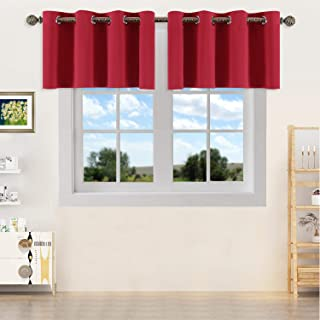 YGO Solid Grommet Top Blackout Curtain Valance - Window Treatment for Living Room Short Straight Drape Valance Set of 2 Panels (52 X 18 inch,True Red)