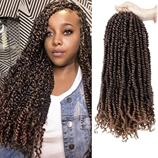 6 Packs Pre-Twisted Passion Twist Crochet Hair 18inch Pre-looped Passion Twist Bohemain Braiding Curly Hair Extensions For Synthetic Crochet Braids(20strands/pack, T30)