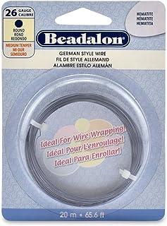 Beadalon 26 Gauge Round Wire, Hematite, 20-Meter