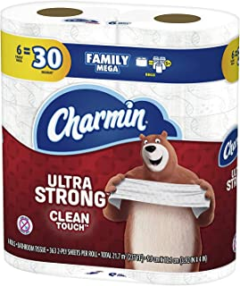 Charmin Ultra Strong Clean Touch Toilet Paper, 6 Family Mega Rolls = 30 Regular Rolls, Prime Pantry