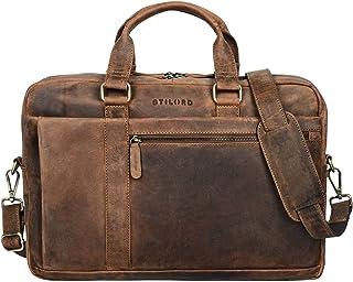 STILORD 'Nico' Vintage Umhängetasche Leder Herren Damen 15,6 Zoll Laptoptasche groß Aktentasche Arbeit Büro Uni echtes Rin...