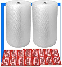 """2-Pack Bubble Cushioning Wrap Rolls, 3/16"""" x 12"""" x 72' ft Total, Perforated Every 12"""", 20 Fragile Stickers for Packaging, Shipping, Mailing"""