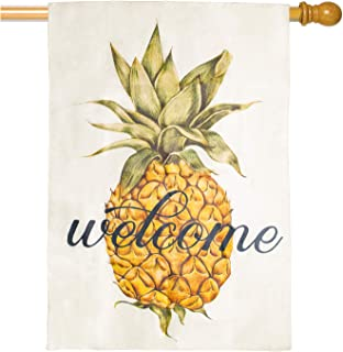Bekith Pineapple Welcome Large House Flag Vertical Double Sided, Burlap Garden Flag Rustic Farmhouse Flag Yard Outdoor Dec...