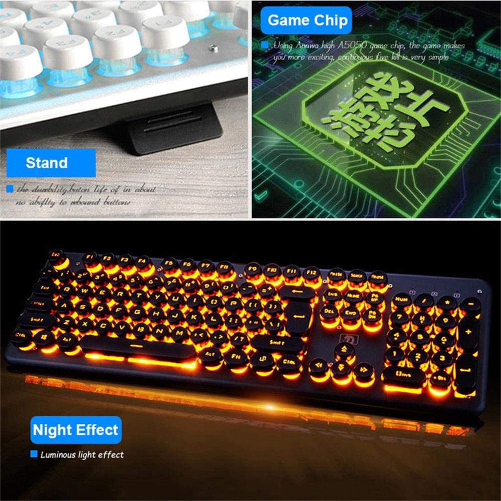 Gaming Mechanical Keyboard 104Keys RGB Backlit Retro Round Glowing Keycap Metal Panel USB Wired Illuminated Border Waterproof Black