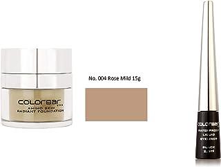Colorbar Amino Skin Radiant Foundation, Rose Mild 004, 15g + Colorbar Waterproof Liquid Eyeliner, Black