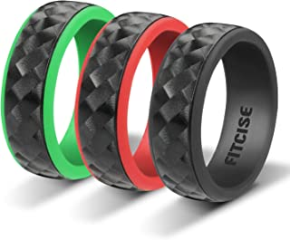 Fitcise Silicone Wedding Ring, 3D Carbon Fiber Texture Rubber Wedding Ring, 3 Pack in Gift Box Package