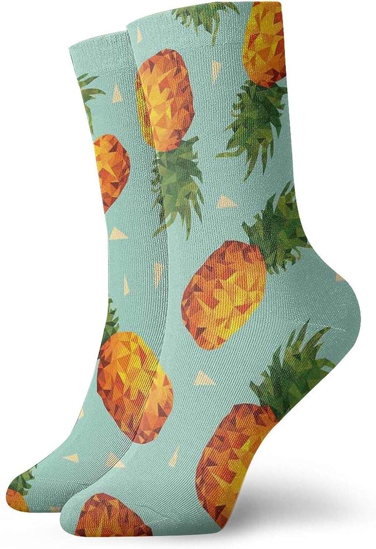 Compression High Socks-Poly Style Pineapples Motif Vintage Beach Summer Modern Illustration Best for Running,Athletic,Hiking,Travel,Flight