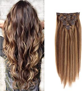 Clip in Human Hair Extensions Full Head Set 7 Pieces Set Longer Length Silk Straight 100% Remy Human Hair Clip in Hair Extension For Women Fashion Beauty 22Inch 70g Piano Color (#4/27)