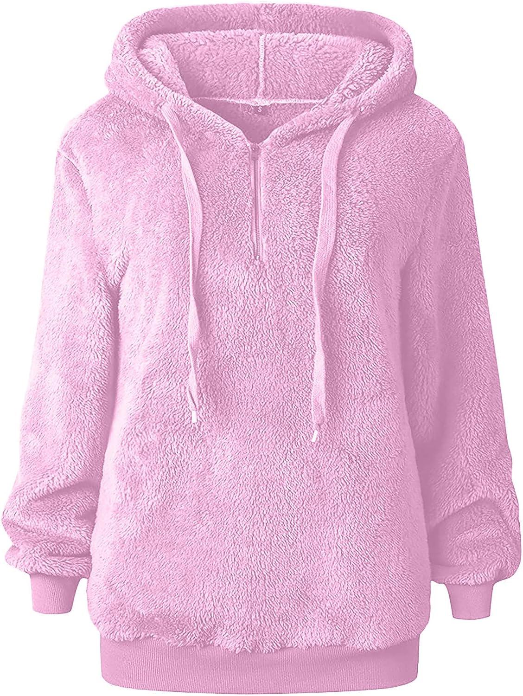 JPVDPA Women Warm Hooded Sweatshirt Winter Casual Pockets Coats Long Sleeve Fuzzy Fleece Zipper Pullover