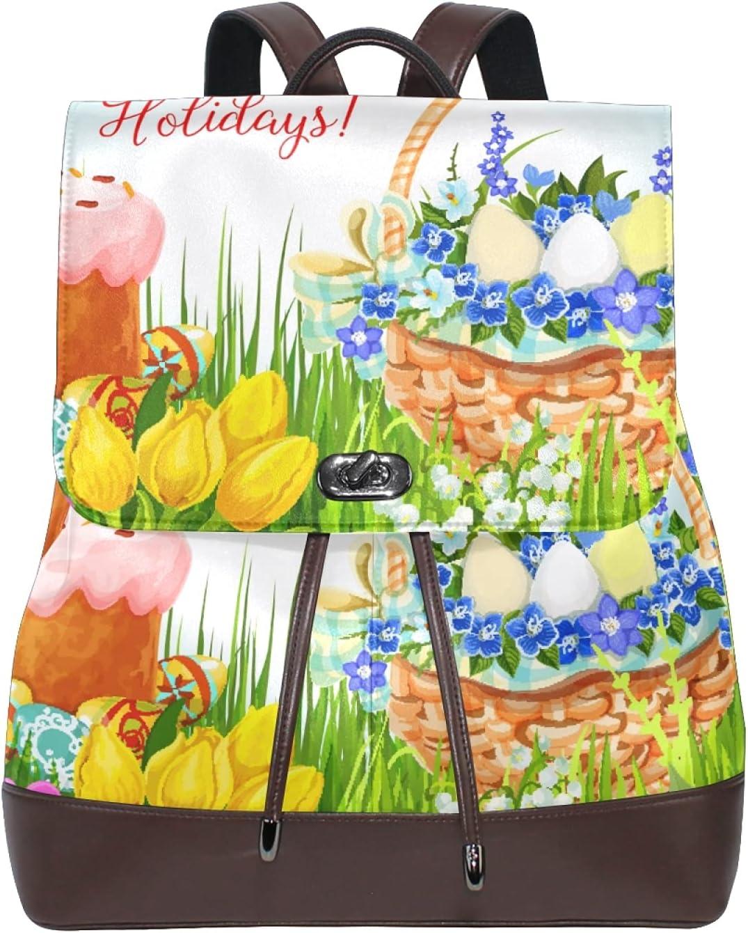 Women Leather Backpack Ladies Fashion Shoulder Bag Large Travel Bag Happy Easter Spring Elements