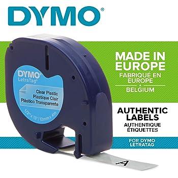 Prestige Cartridge Compatibile Cassette 12267 S0721530 nero su trasparente 12mm x 4m Nastro di Plastica per Etichettatrici Dymo LetraTag LT100H LT100T LT110T QX50 XR XM 2000 Plus
