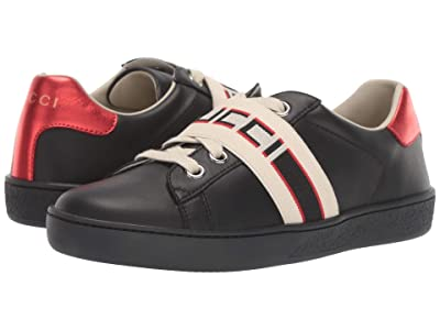 Gucci Kids GG Strap Low Top Sneaker (Little Kid) (Black/Multi) Kids Shoes