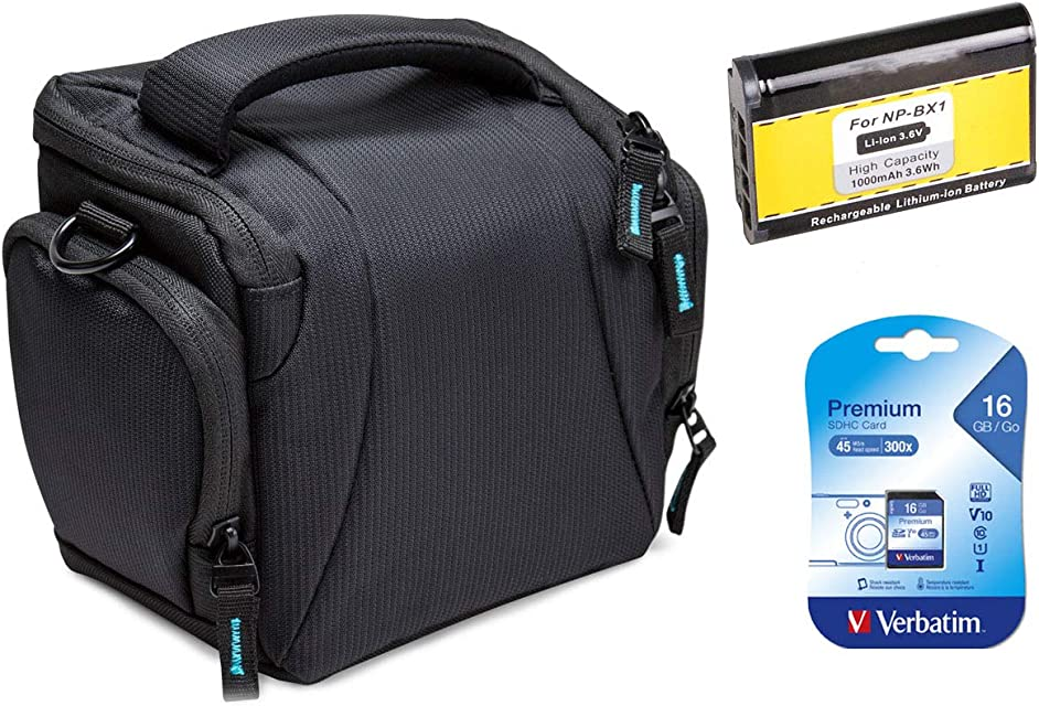 Estuche de repuesto para Sony DSC-HX400V HX400V - Estuche de fotos negro + batería de repuesto NP-BX1 + tarjeta SD de 16GB