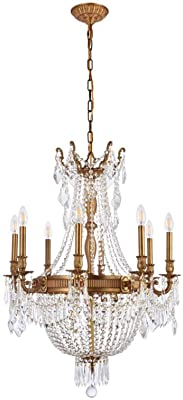 """Elegant Lighting 9312D26FG/RC Royal Cut Clear Crystal Esperanza 12-Light, Single-Tier Crystal Chandelier, Finished in French Gold with Clear Crystals, 26"""" x 37"""", French Gold Finish"""