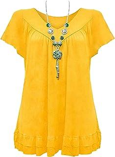 81816eb90e6 Urban Diva Vanilla Inc Womens Ladies Plus Size Frill Necklace Gypsy Ladies  Tunic Short Sleeve Long