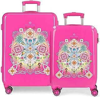 Catalina Estrada Set of suitcases, Fuchsia, 68 centimeters