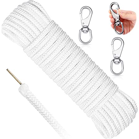 50 Feet 5/16 Inch Wire Center Flagpole Rope Halyard Rope with 2 Pieces Stainless Steel Snap Hooks White Braided Polyester Flagpole Halyard Rope Steel Center Flag Pole Solid Rope for Flagpole