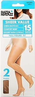 Razzamatazz Women's Pantyhose 15 Denier Full Figure Fit Sheers (2 Pack)