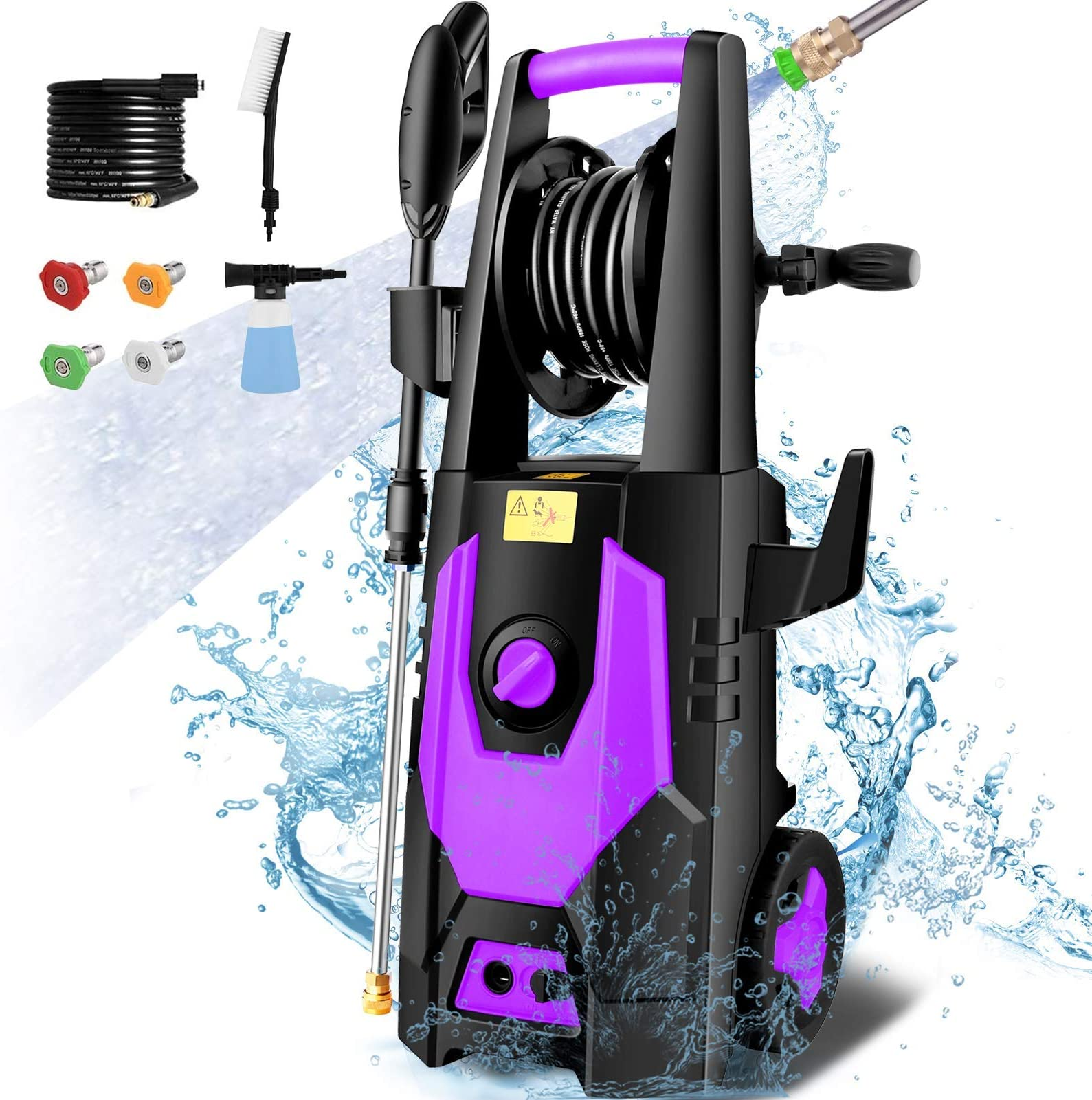 mrliance 3600PSI Electric Pressure Washer 2.4GPM Power Washer 1800W High Pressure Washer Cleaner Machine with 4 Interchangeable Nozzle & Hose Reel, Best for Cleaning Patio, Garden,Yard,Vehicle