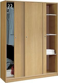 Armario Color Roble Grande de 3 Puertas correderas, estantes
