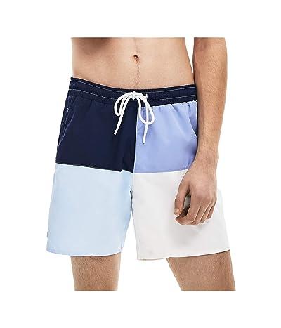 Lacoste Color-Block Swim Trunks with Front Multicolor Lacoste Bagde Summer (Navy Blue/Purpy/Rill/Flour) Men