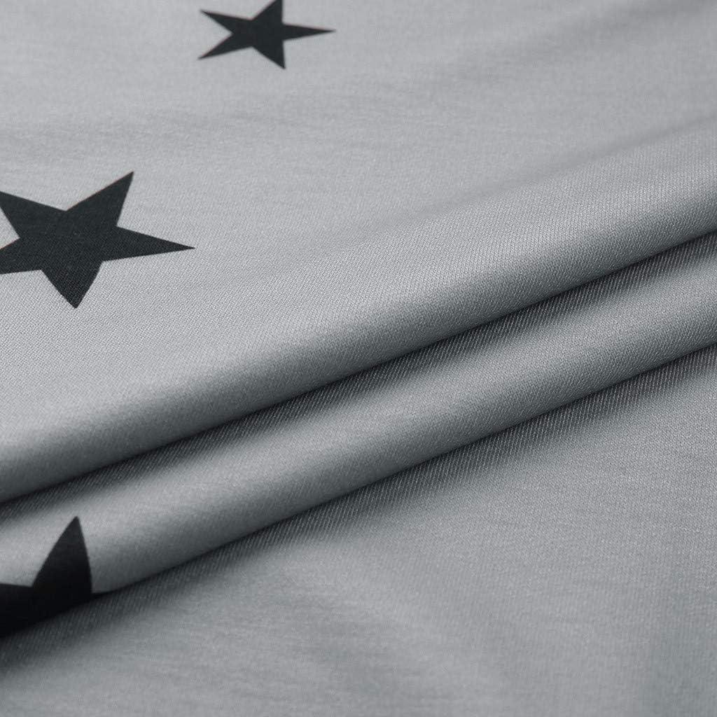 Long Sleeve Shirts for Women,Womens Plus Size Long Sleeve Sweatshirt Round Neck Star Print Side Split Pullover Shirt