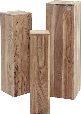 WOMO-DESIGN Tables Gigognes Set 3 Colonnes Décoratives Bois Massif Acacia 65/75/85cm -Support de Fleurs Table Basse Table d&#
