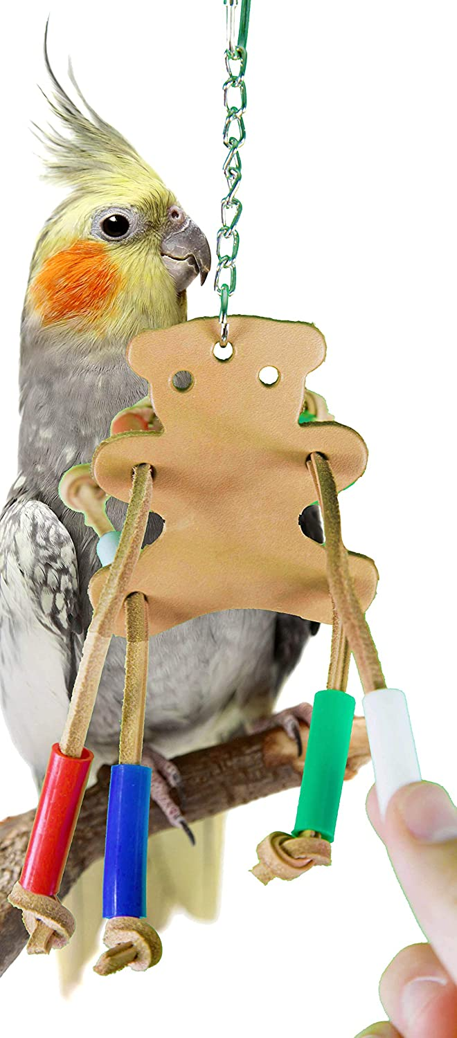 Bonka Bird Toys 988 Teddy Bear Leather Bird Toy Parred Cage Toys Cages Budgie Cockatiel Conure