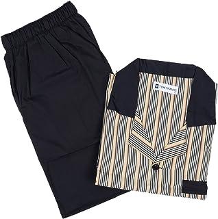 Men Pattern Cotton Soft Pyjama PJ Nightwear Set - Black & Brown Stripe Medium