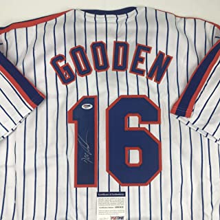 Autographed/Signed Dwight Doc Gooden New York Pinstripe Baseball Jersey PSA/DNA COA
