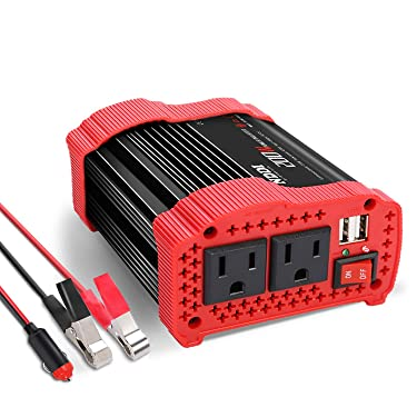 200W Car Power Inverter 12V DC to 110V AC Converter with 3.1 A Dual USB Quick Car Charger Adapter