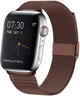 MCORS Compatible with Apple Watch Band 44mm 42mm,Stainless Steel Mesh Metal Loop with Adjustable Magnetic Closure Replacement Bands Compatible with Iwatch Series 5 4 3 2 1 Brown(Army)