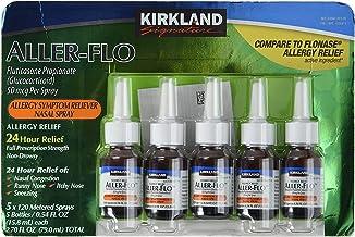 KIRKLAND SIGNATURE Aller-Flo Fluticasone Propionate (Glucorticoid) 5 Bottles x 120 Metered Sprays .54 Fl OZ per Bottle (15.84 mL x 5) 2.70 OZ Total (79.0 mL Total) 600 Total Sprays Total, 1-Pack