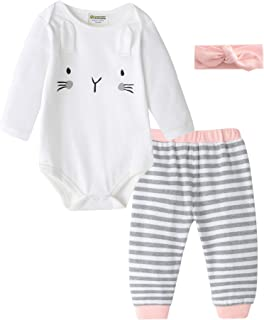 Fiream Baby Girls & Baby Boys Infant Romper Bodysuit and Fashion Pant Sets 2pcs Outfits