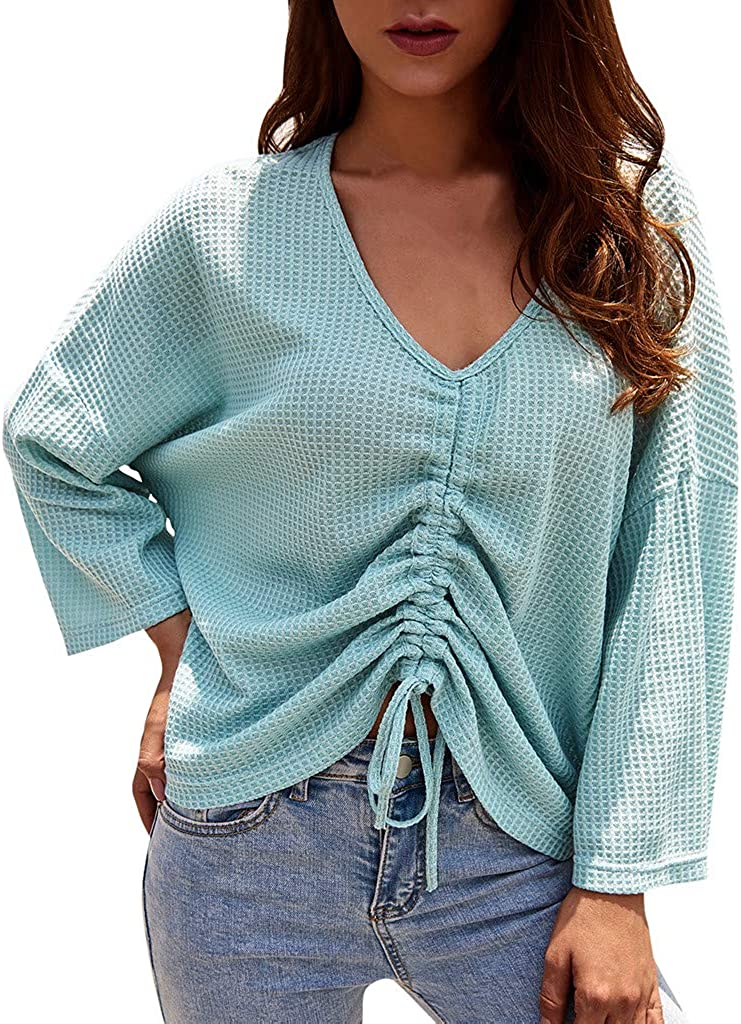 free Weginte Womens Shirts Blouses Long Super popular specialty store Pullover Sleeve C Ruffled Bow