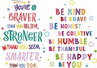 6 Pieces Colorful Inspirational Wall Decal Motivational Phrases Wall Sticker You're Braver than You Believe Decals for Cla...
