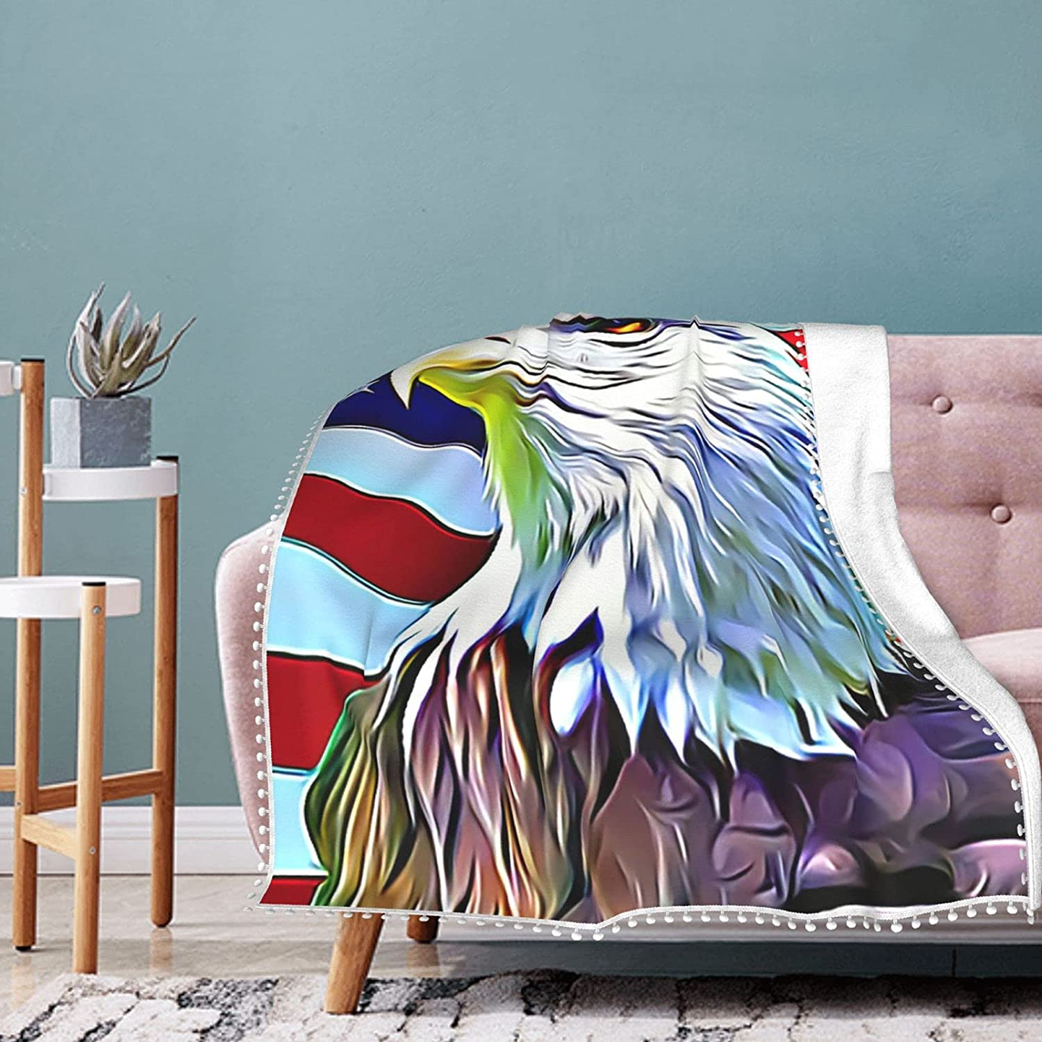 American Animer and price revision We OFFer at cheap prices Eagle Fleece Blanket with Summer Air Pompom Con Fringe