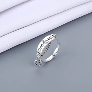 Open Rings For Women Vintage Ancient Silver Color Happy Smiling Face Open Rings Men Unisex Hip Hop Adjustable Ring Fashion...