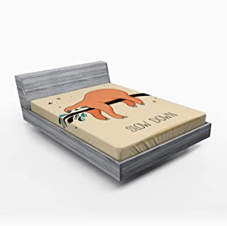 Ambesonne Animal Fitted Sheet, Sleeping Big Bear and Sloth Hanging on a Bench Cozy Lazy Wild Creature Image Print, Soft Decorative Fabric Bedding All-Round Elastic Pocket, Queen Size, Orange Beige